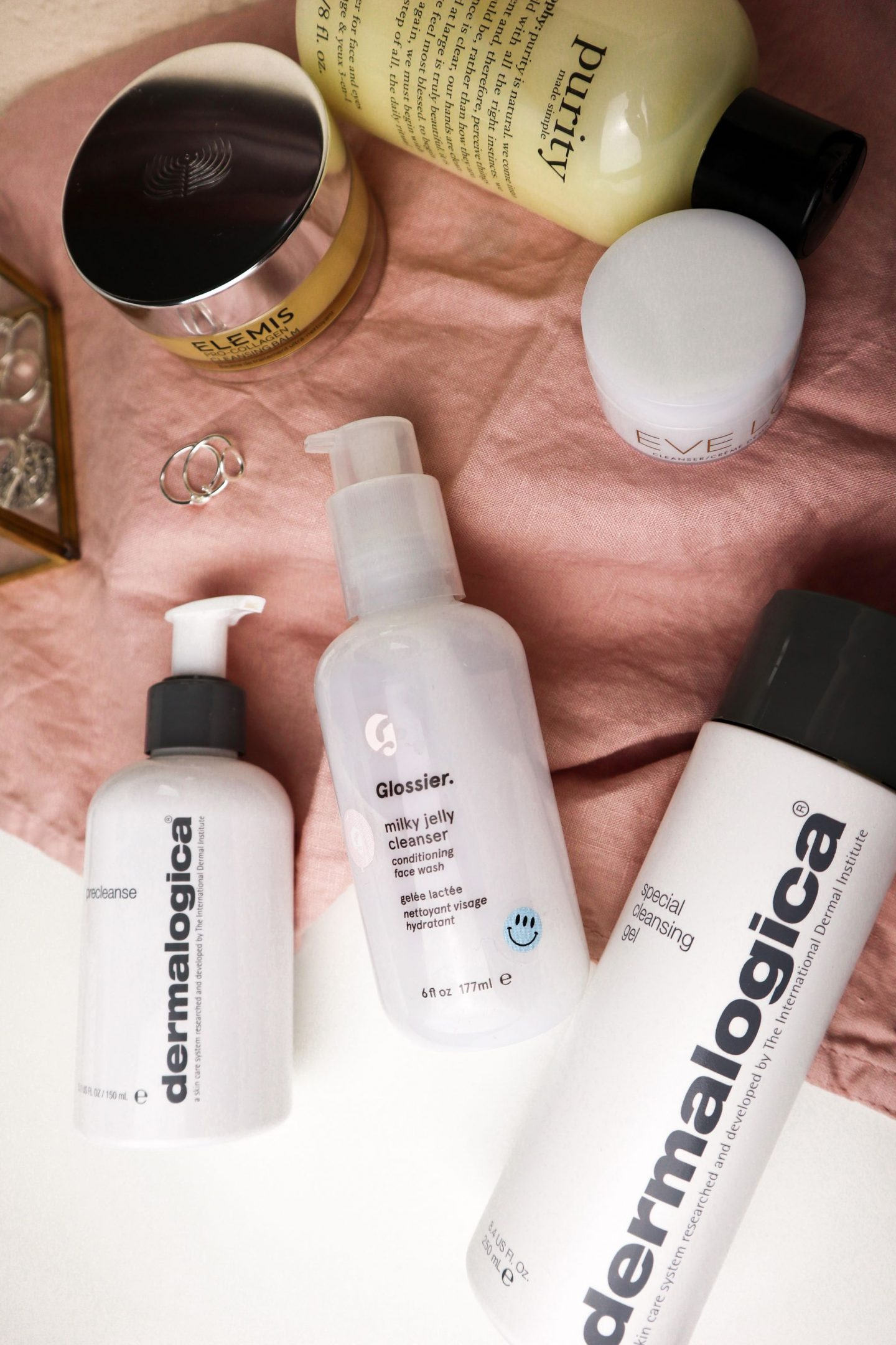 Why you need to double cleanse - dermalogica, glossier and elemis products