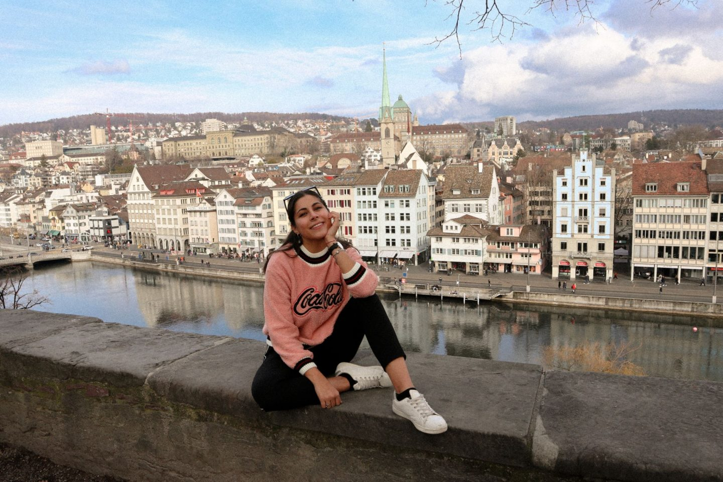 Kristina and the view from Lindenhof in Zurich