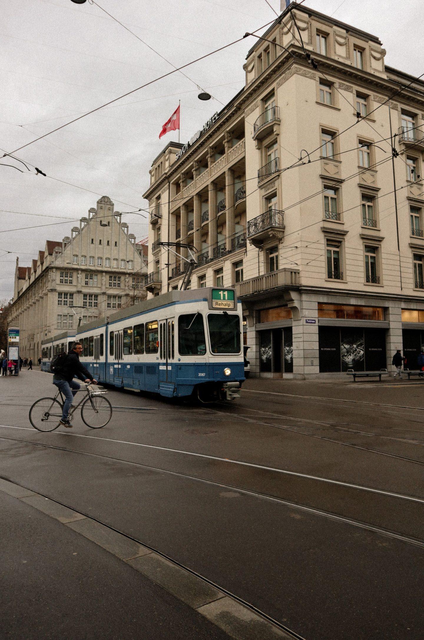 Savoy Hotel Zurich and tram