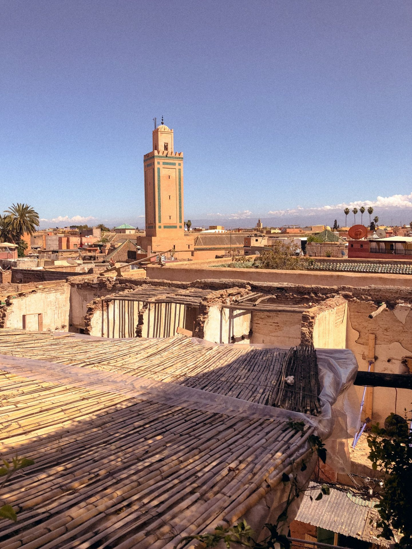 Mosque in Marrakesh, view from rooftop terrace