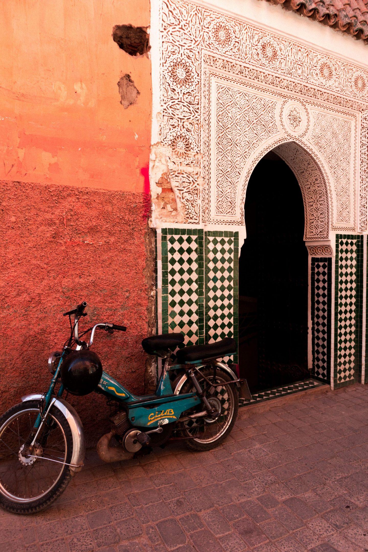 Motorbike parked by a Door in Marrakesh