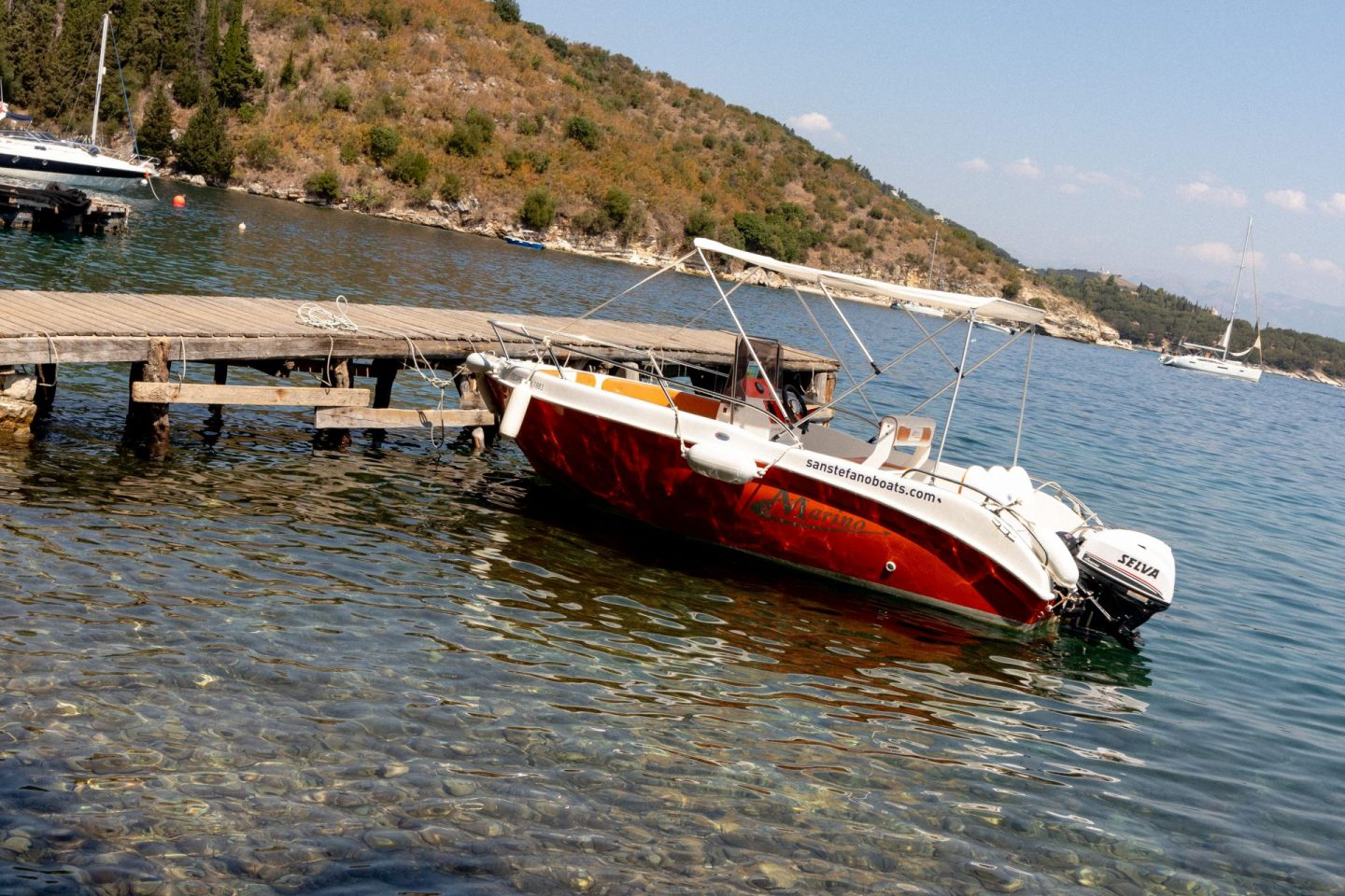 A boat in moored in Kouloura, Greece