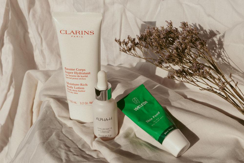 hydrating products Clarins body lotion, weleda skin food, alpha-h HA